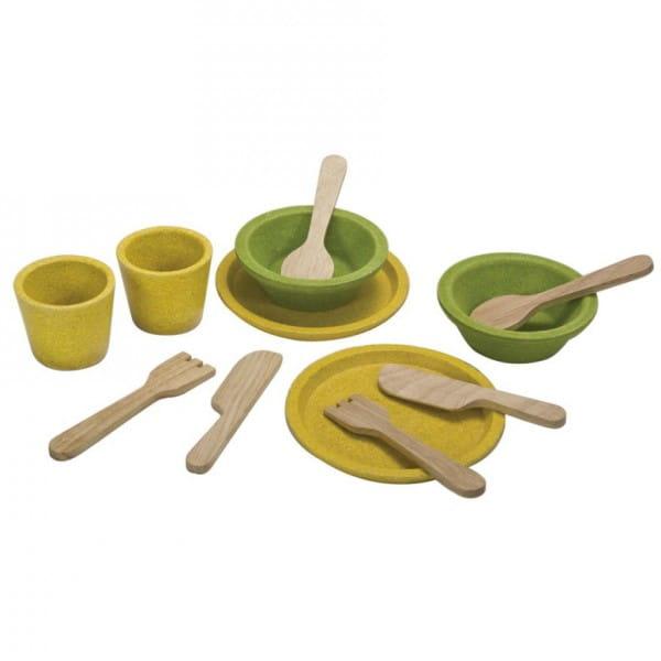 Купить Набор деревянной посуды Plan Toys в интернет магазине игрушек и детских товаров