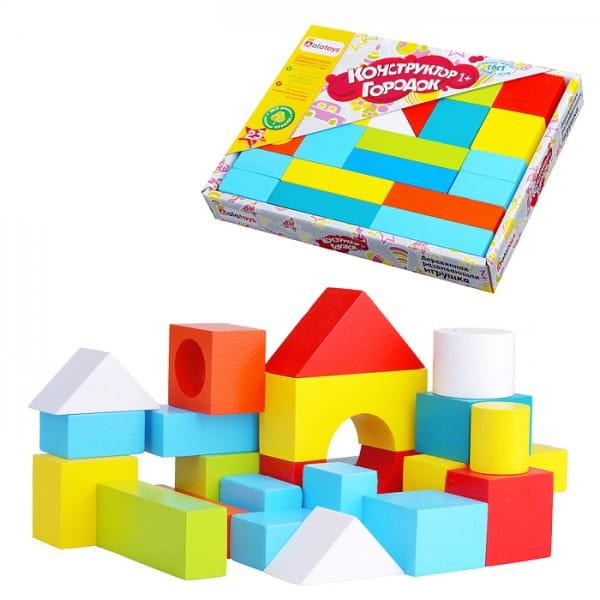 Купить Деревянный конструктор Alatoys Городок окрашенный - 23 детали в интернет магазине игрушек и детских товаров