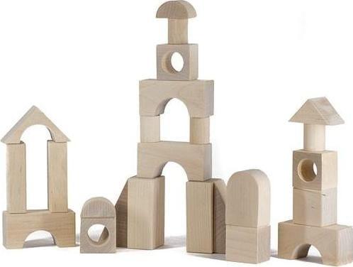 Деревянный конструктор Alatoys Городок неокрашенный - 40 деталей