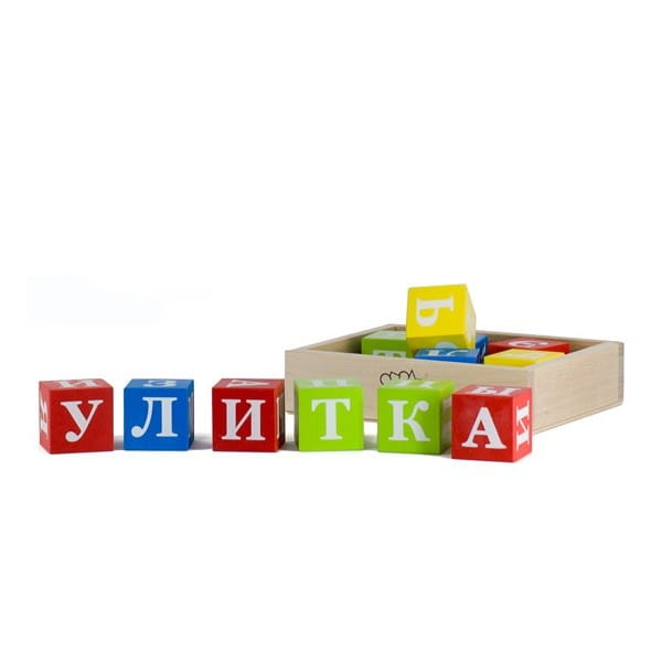 Кубики окрашенные Alatoys Азбука - 15 штук