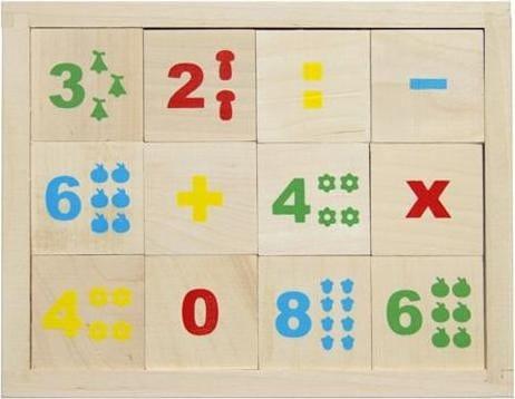 Деревянные неокрашенные кубики Alatoys Математика - 12 штук