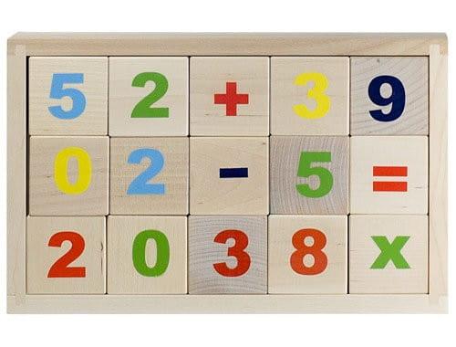 Деревянные неокрашенные кубики Alatoys Цифры - 15 штук