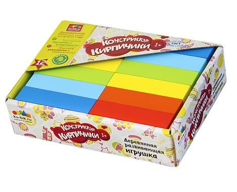Купить Деревянный окрашенный конструктор Alatoys Кирпичики - 12 штук в интернет магазине игрушек и детских товаров