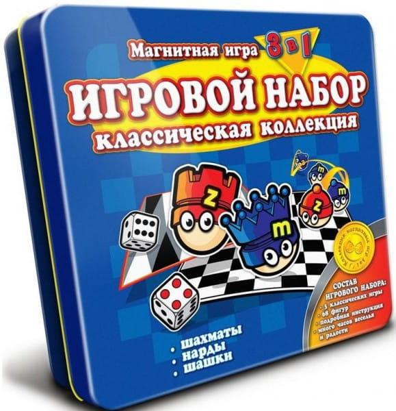 Магнитная настольная игра Mack and Zack 3 в 1 Шахматы, Шашки, Нарды