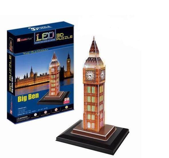 Купить Объемный 3D пазл CubicFun Биг Бен с иллюминацией (Великобритания) в интернет магазине игрушек и детских товаров