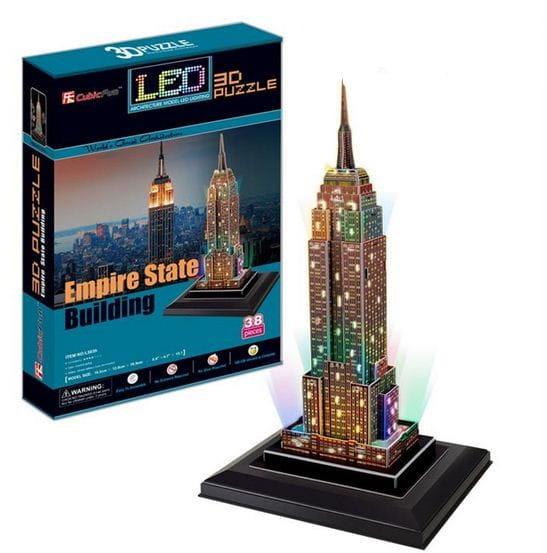 Купить Объемный 3D пазл CubicFun Эмпайер Стейт Билдинг с иллюминацией (США) в интернет магазине игрушек и детских товаров